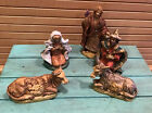 Vintage Nativity Partial Set Hard Plastic 5 Figures Italy