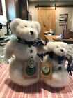 Boyds White Plush Bear w/Knitted Scarves~ Eunice Snowbeary And Baby