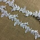 Bridal Lace Trim Embroidered Hand Beaded Corded Sequined Organza Beautiful Rose