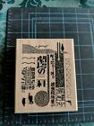 NEW RARE Postmodern Design Note Collage EA3 104 E Wood Mounted Rubber Stamp