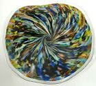 16 HAND BLOWN GLASS ART PLATTER WALL TABLE DIRWOOD RAINBOW BLACK END OF DAY