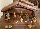 Vintage Italy wood resin Nativity Set Manger with 8 figurines  7 addtl animals