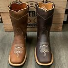 MENS WORK WESTERN BOOTS BULL DOG TOE LEATHER SHAFT WITH LEATHER STRIP ON SHAFT
