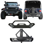 Front + Rear Bumper w/ Tire Carrier & Hitch Receiver for 97-06 Jeep Wrangler TJ