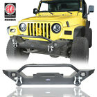Grille Style Front Bumpers w/ LED Light & Winch Plate For 97-06 Jeep Wrangler TJ