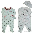 Baby Boys First Christmas Sleep Play Lot Holiday Outfit Sleeper Footie 1st Cap