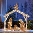 Pre Lit Nativity Scene Mary Joseph Baby Jesus Light Outdoor Christmas Yard Decor