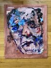 VINTAGE ABSTRACT De Kooning type PAINTING ON GLASS MULTI COLOR Portrait