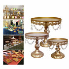 3Pc Cake Stand Set Metal Cupcake Holder Display Plate with Crystal Wedding Party