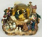 Christmas Nativity Holy Family musical light up triple snow globe glitter water