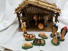 VTG SEARS NATIVITY SET TRIM SHOP 97169 ORG BOX WOODEN STABLE 11 FIGURES NICE