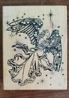 PSX K 1332 ANGEL WITH HARP and WINGS Wood mount Rubber stamp Christmas