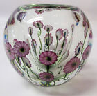 Daniel Lotton Glass Small Bowl Clear Pink Asters #28   Mint Signed and Dated
