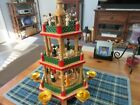 VINTAGE GERMAN CHRISTMAS 3 TIER NATIVITY WOOD WINDMILL CAROUSEL CANDLE HOLDER
