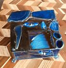 Abstract Studio Art Blue Glass Trinket Box Container