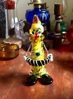 1960s 70s Hand Blown Authentic Venetian MURANO GLASS Clown Figurine w Accordion