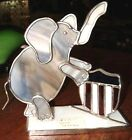Old Hand Crafted Stained Glass LUCKY ELEPHANT Trunk Up Pachyderm Republican USA