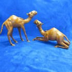 Pair 2 Large Vintage Camel Leather Wrapped Statue Figure Figurine