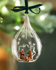 de Carlini Nativity Teardrop Christmas Ornament HandPainted Italy Crafted Glass