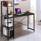 Modern Computer Desk With 4 Tier Shelves PC Workstation Study Table Home Office