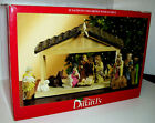 Vtg Dillards Nativity Set Creche 12 Carved Figures plus 14 x 105 Wooden Stable