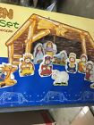 Kids Nativity Set Wood Manger  Figures 11 Pieces