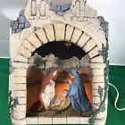 Vtg Christmas Diorama Lighted Rustic Nativity Manger Holy FamilyScene Ceramic