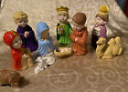 Vintage Ceramic Nativity Christmas Manger Scene Figures 1975 Arnels Children