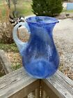 Blue Seeded Glass Pitcher