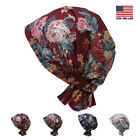 Large Flower Cotton Scarf Slip On Pre Tied Turban Hat Chemo Cancer Beanie Women