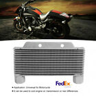 Aluminum Motorcycle Engine Oil Cooler Radiator 15 Rows W/ Install Accessories