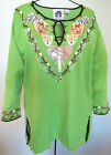 STORYBOOK KNITS GREEN AFRICAN SAFARI MEMORIES BEADED SEQUINED SWEATER WOMENS L