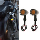 Amber Black Motorcycle LED Turn Signals Lights Brake Running Tail Light Bullet S