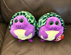 TY Beanie Ballz Tiki Two Turtles Turtle Stuffed Plush Soft 5""