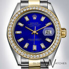 Rolex 31mm Royal Blue Diamond Baguettes two-tone Datejust Oyster 18K Gold + SS