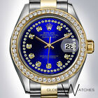 Rolex 31mm Royal Blue Diamond String 2tone Datejust Oyster 18K Yellow Gold + SS