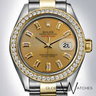 Rolex 31mm Champagne Diamond Baguettes 2tone 18K Yellow Gold SS Datejust Oyster