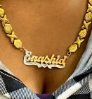 14k Gold Overlay Personalized Name Necklace Plate xoxo chain single plate