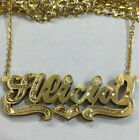 14k Gold Overlay Personalized 3D Name Necklace Plate all yellow