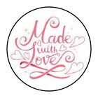 MADE WITH LOVE PINK STICKER LABEL ENVELOPE SEAL 12 OR 15 ROUND
