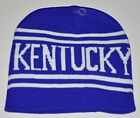 Kentucky Blue & White Striped Knit Stocking Hat Beanie Soft Adult Size New!!