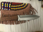 The Native Double edged Indian Bead Knife Cutlery Hunting Head Dress Knife