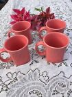 FIESTA 4 NEW FLAMINGO pink SQUARE MUGS  LARGE COFFEE MUGS CUPS 13 oz. FIestaware