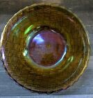1960s Goldtone Carnival Glass Basket Weave Salad Bowl, Serving Bowl 9