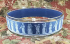 Jeanette Glass Co, Vintage Glass Serving Bowl, Blue Wedgewood Style