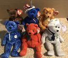 Ty Beanie Babies Lot (6): Texas, Sam, Teddy, Decade, Mistletoe,Ronnie, Read Info