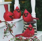 Large Resin Red Cardinal Bird Figurines Set of 4