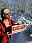 Vintage Metal Early Firestone Farm Tires Sign Gasoline Gas Oil 20X9