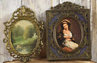 Vintage Brass Picture Photo Frame Square Oval Made In Italy Set In Two