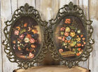 PAIR Vtg Italy Ornate Oval Brass Metal Frames Convex bubble Glass Floral Italian